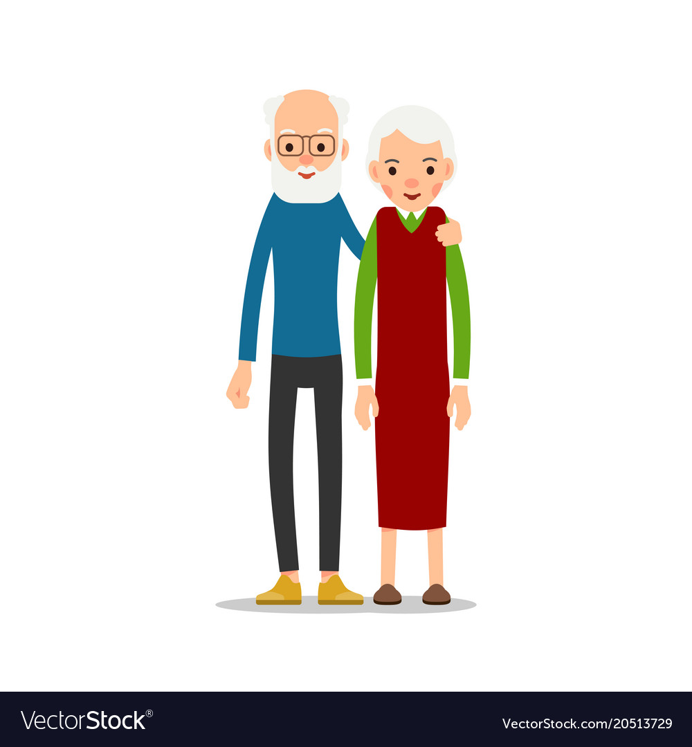 Old couple two aged people stand elderly man and