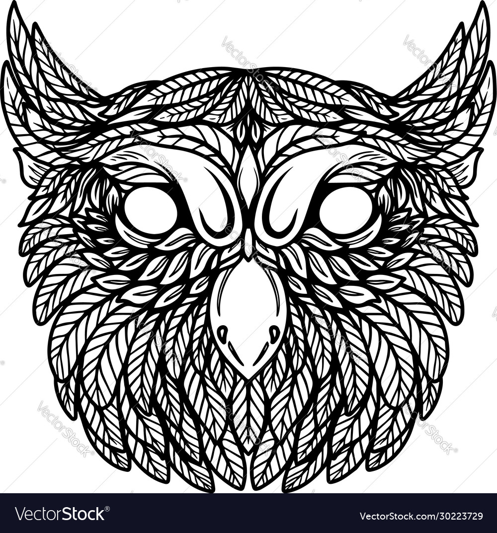 Owl head in floral style design element