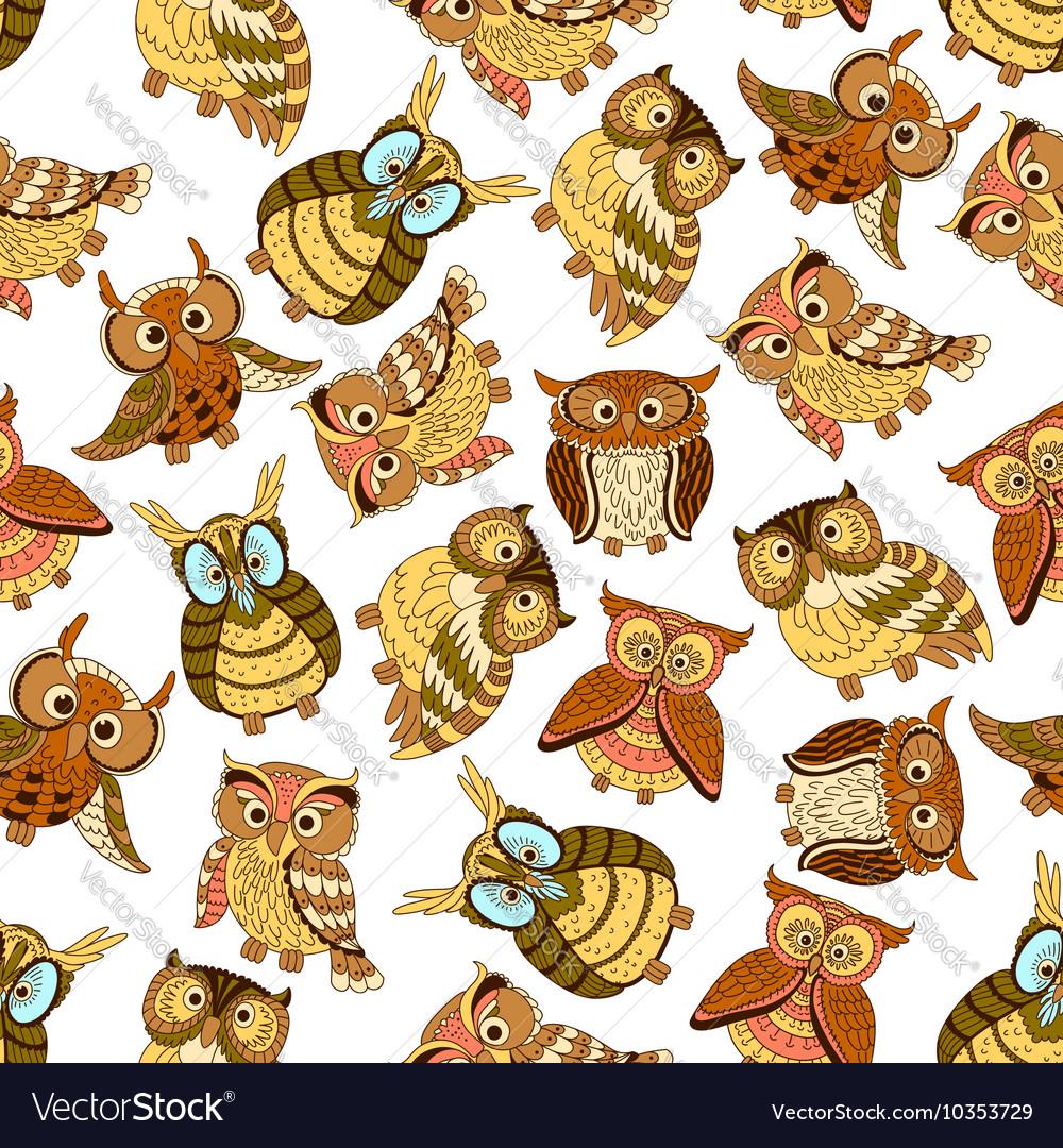 Owl seamless pattern background