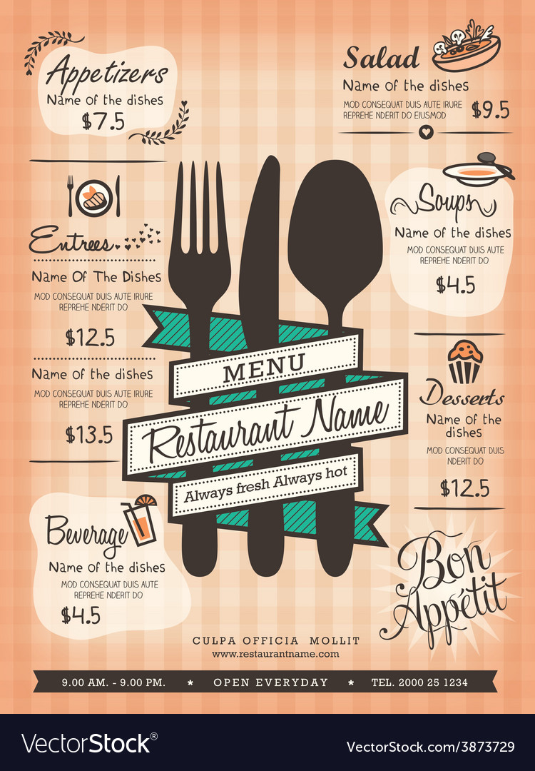 restaurant menu design template layout royalty free vector