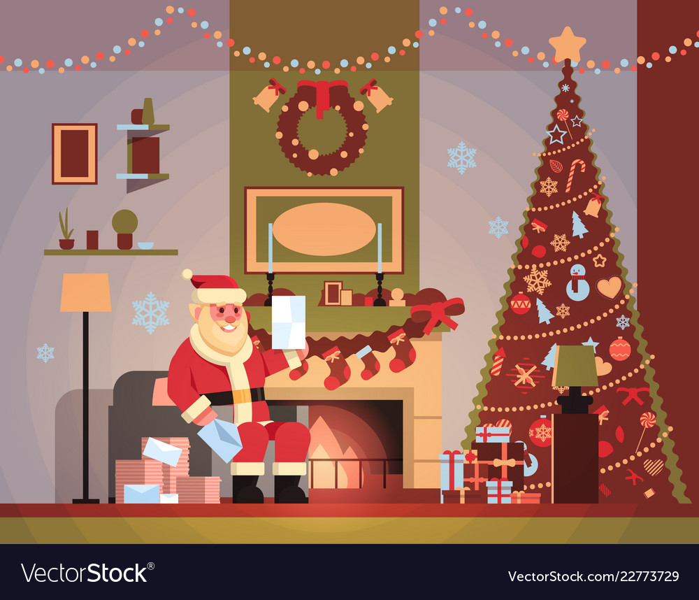 Santa claus in living room decorated for christmas