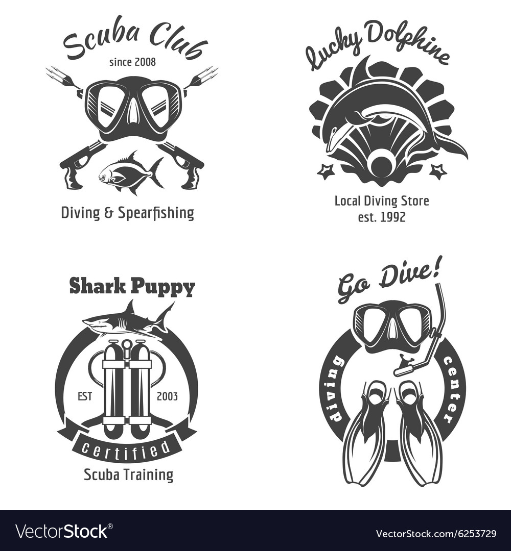 Scuba diving club labels set Underwater swimming