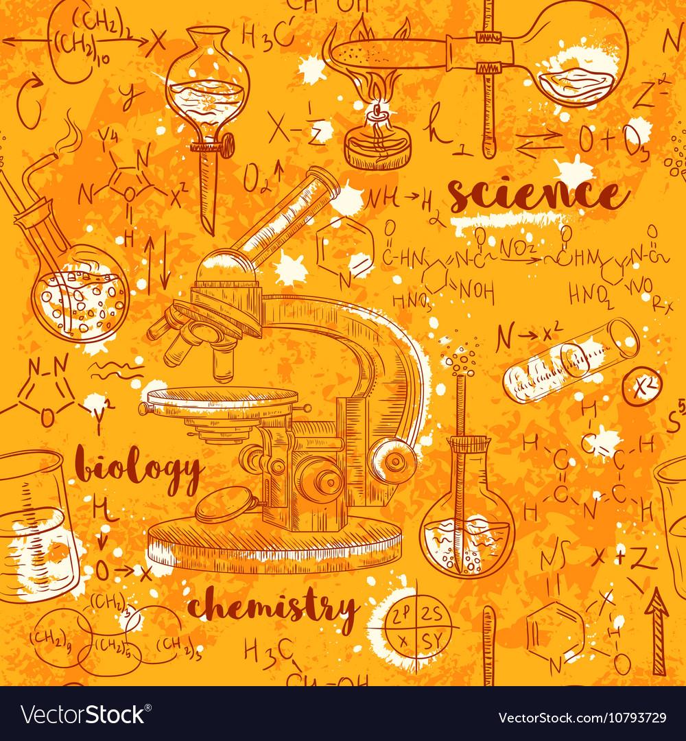 Seamless pattern old chemistry laboratory