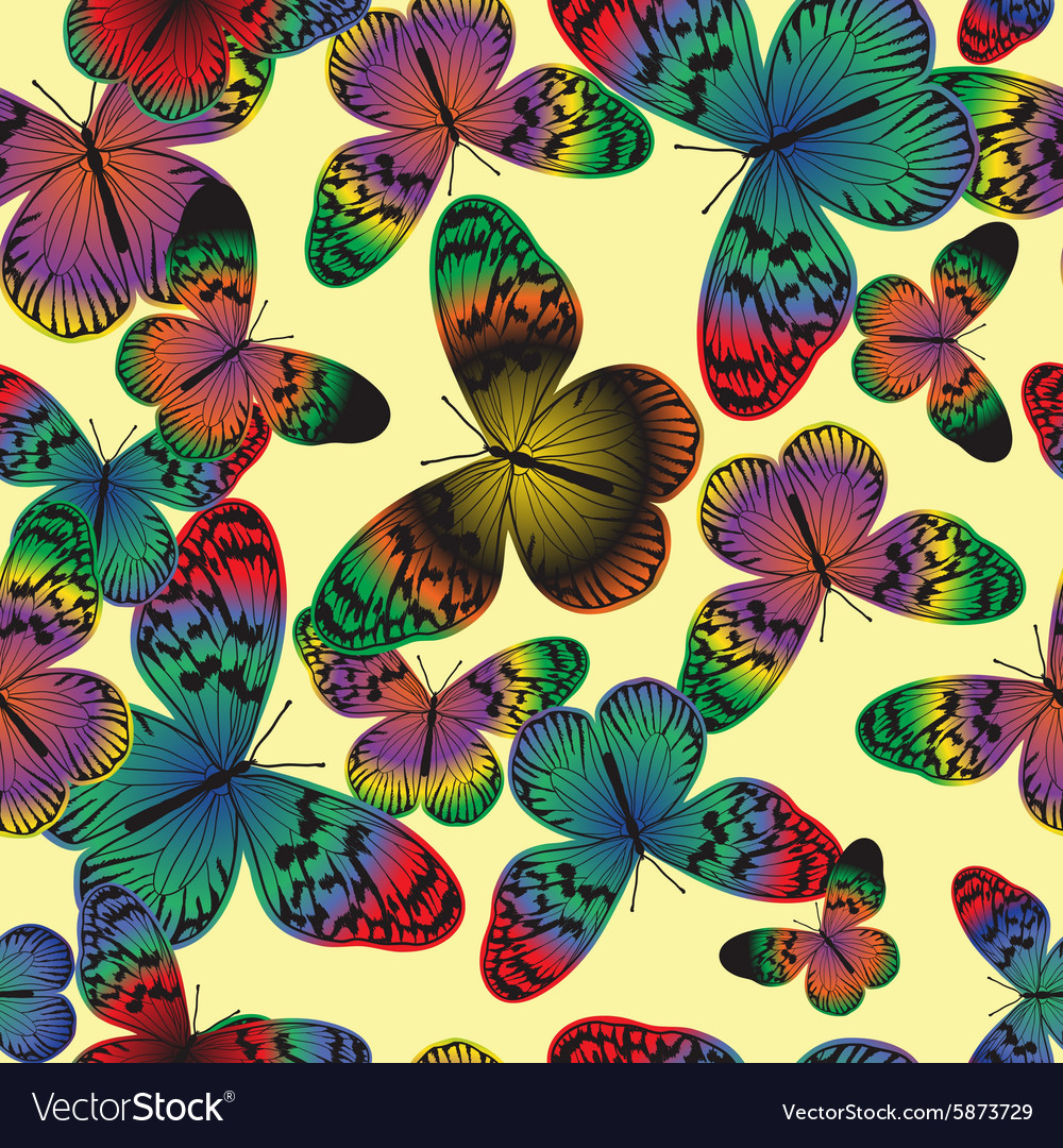 Seamless pattern with vintage colorful butterfly