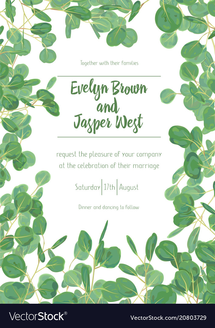 Wedding invite invitation menu card floral vector image