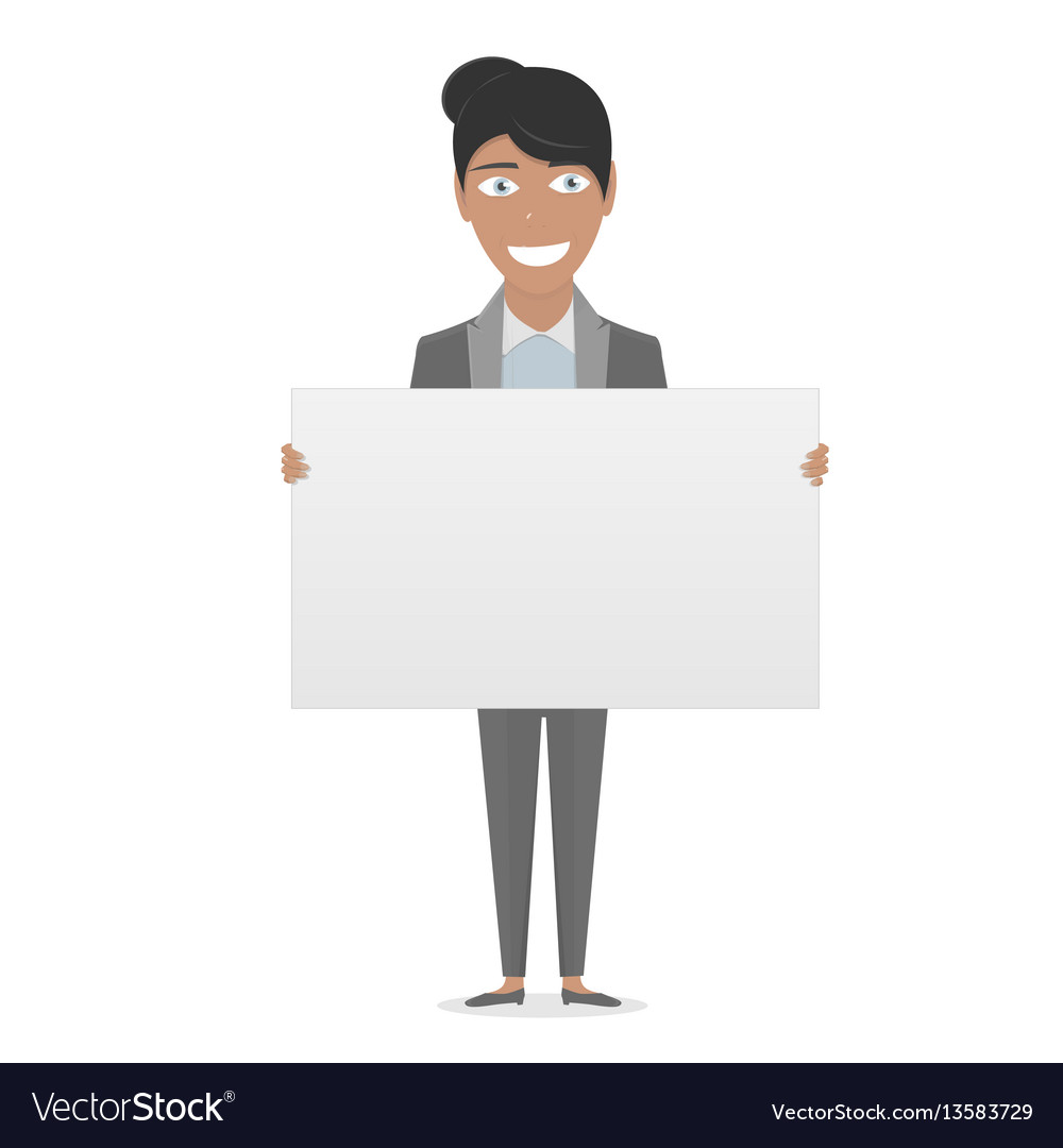White board in his hands for you text business