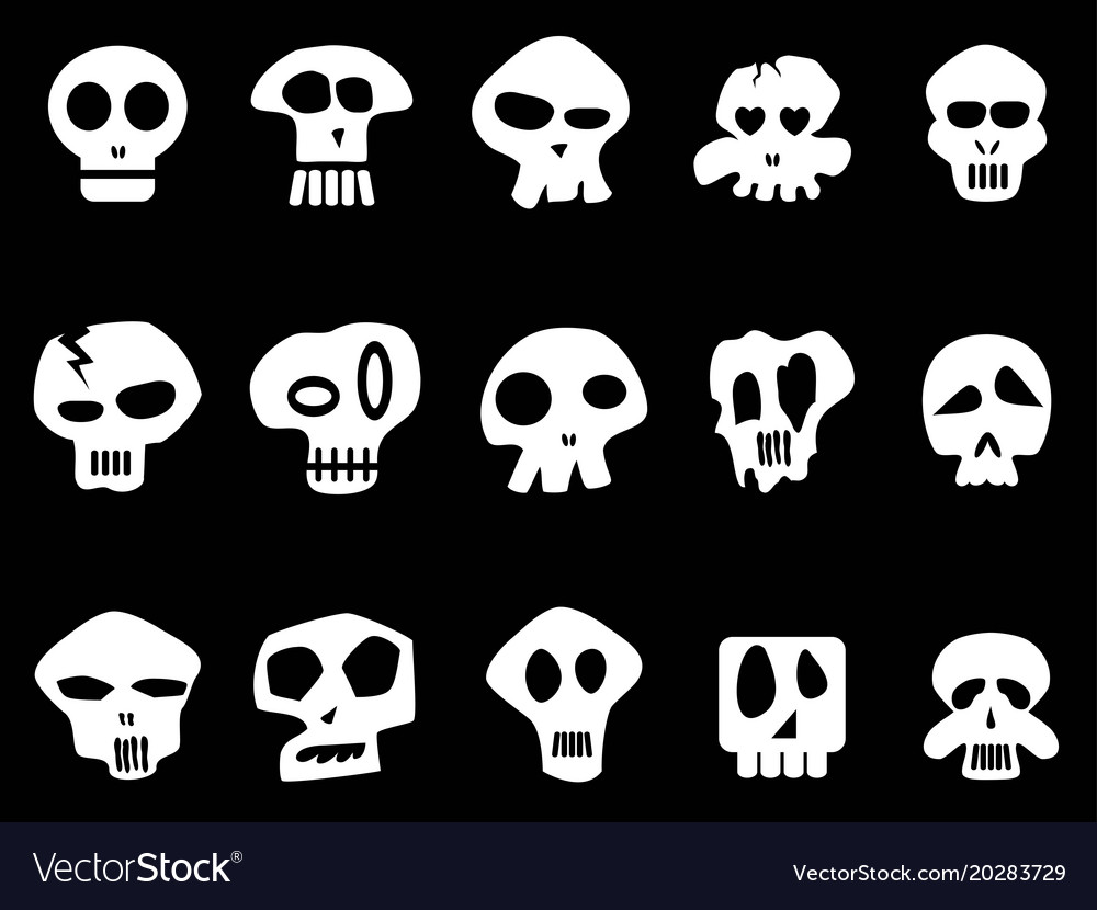 White funny skull icons on black background