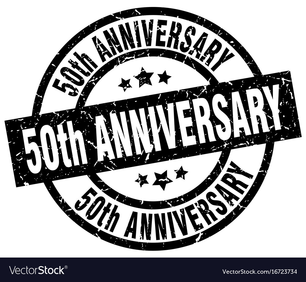 50th anniversary round grunge black stamp