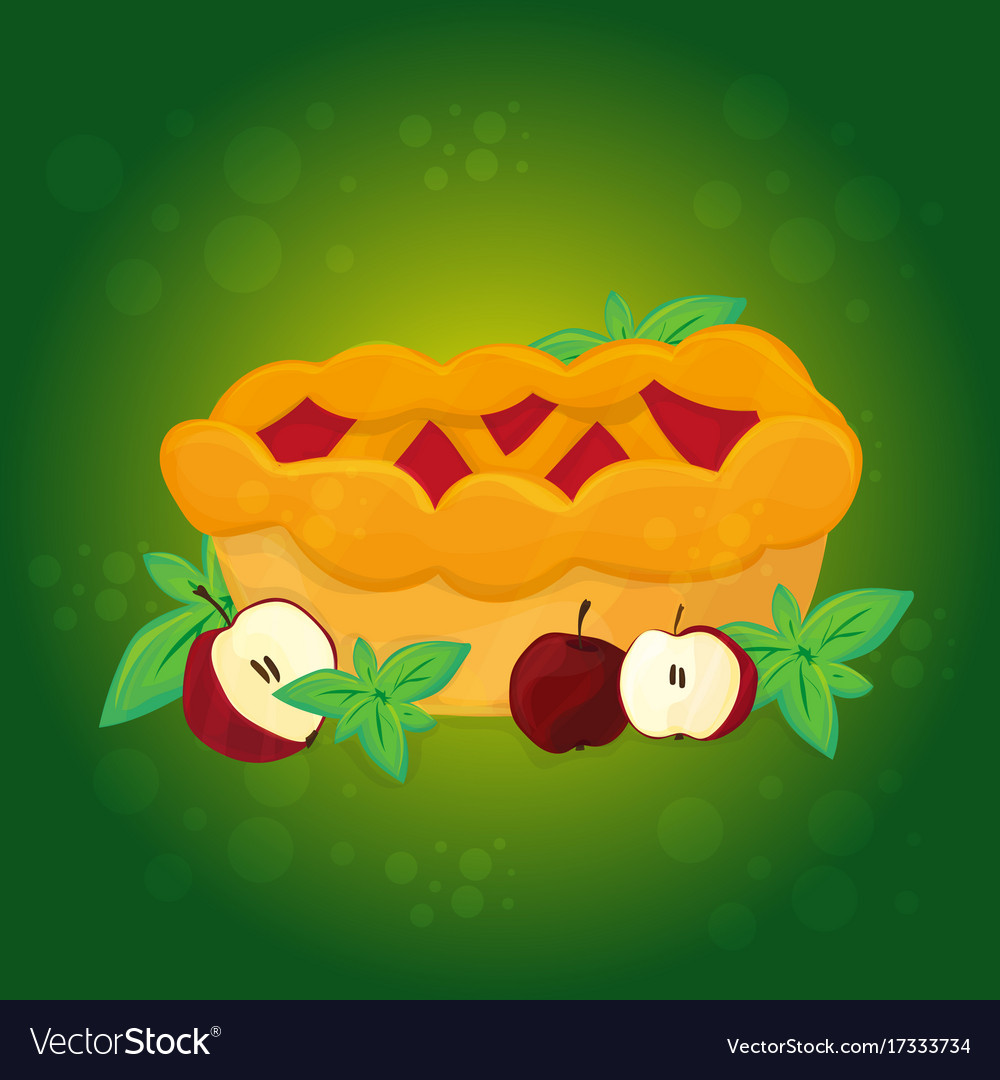 Apple pie and apples - cartoon vector image