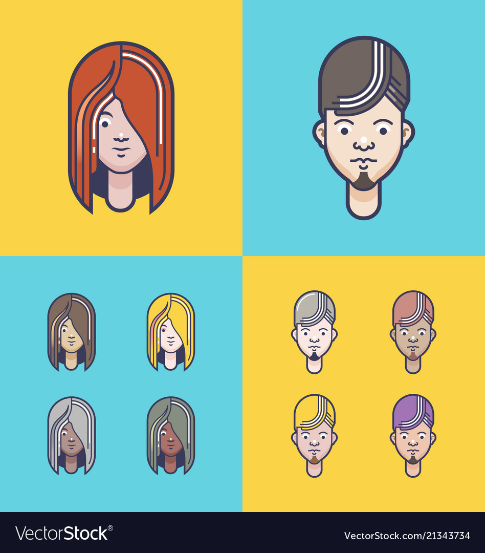 Avatar profile icon set including male and female