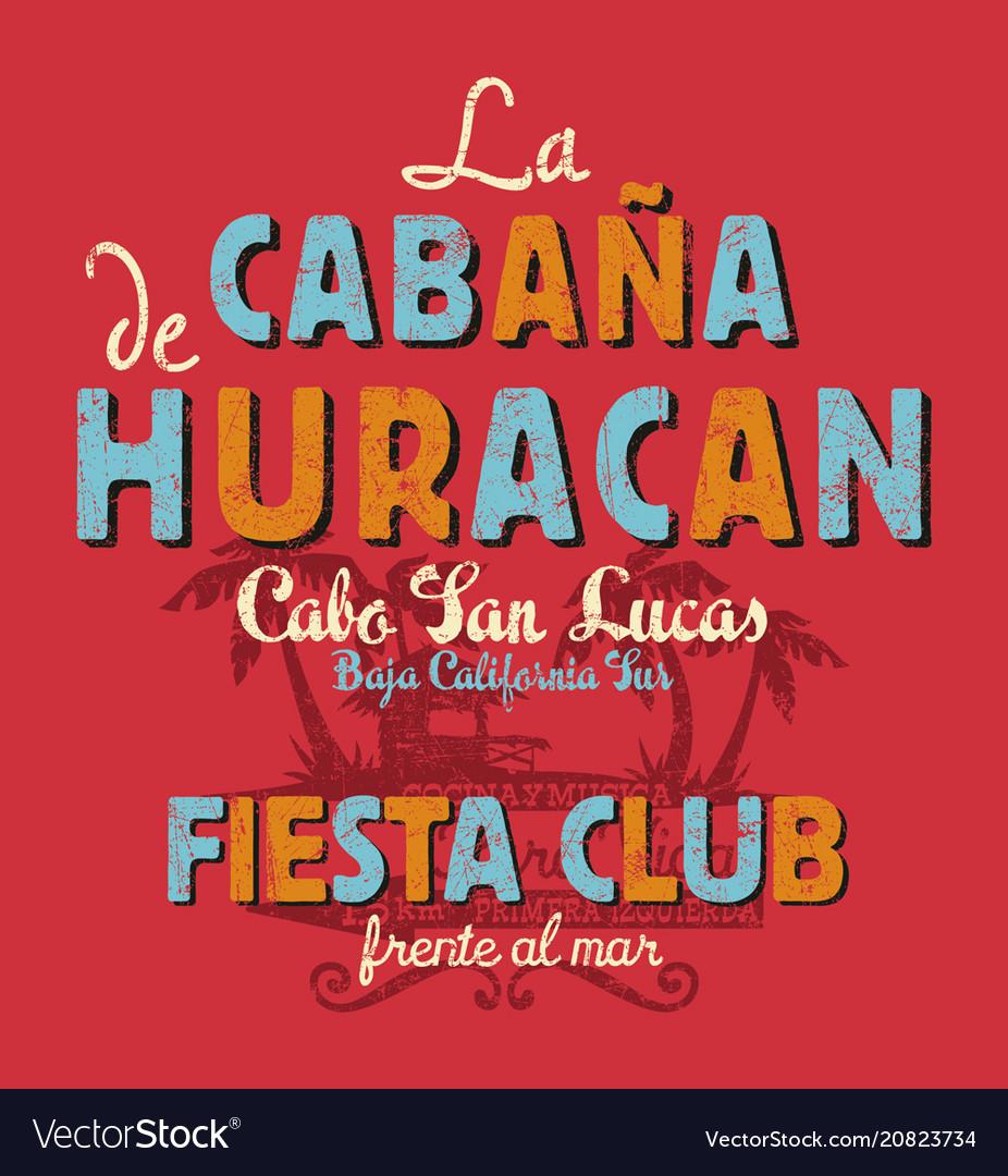Baja california sur cabana beach music bar vector image