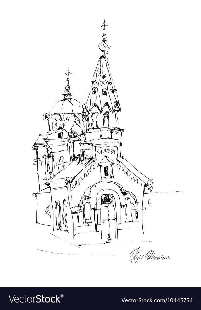Black and white freehand sketch drawing of Church