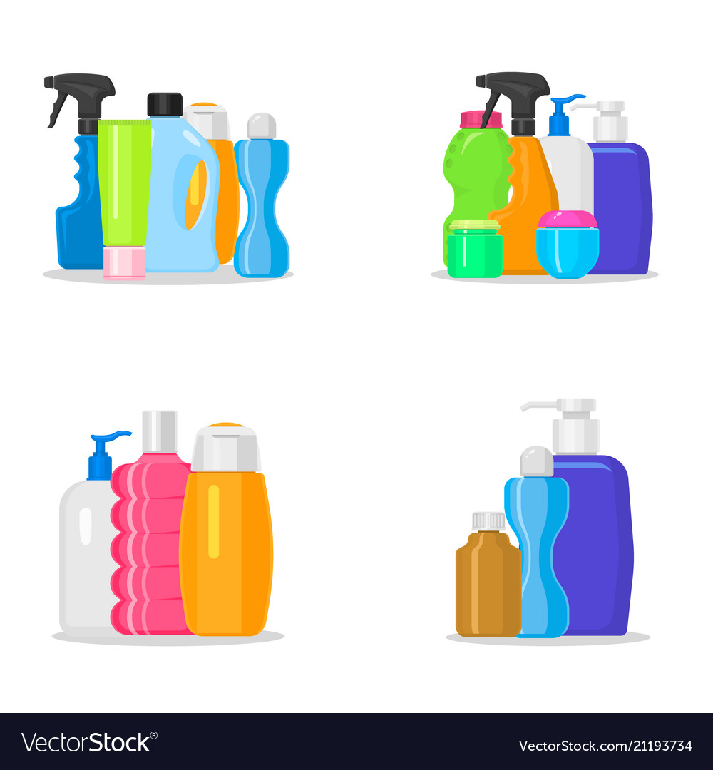 Bottles household chemicals supplies and