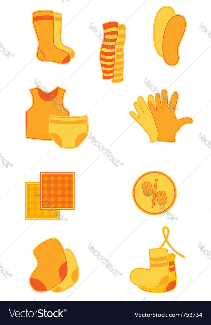 Bright orange clothes and underwear icons