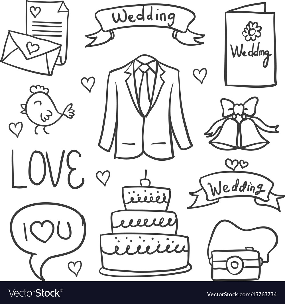 Collection of wedding element doodles