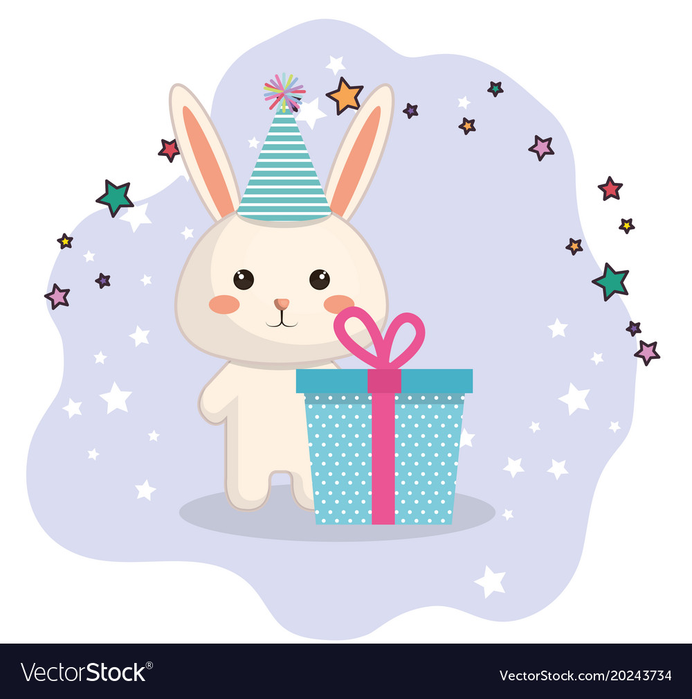 Cute Rabbit Kawaii Birthday Card Vector Image