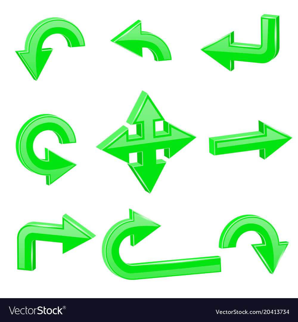 Green 3d arrows different directions