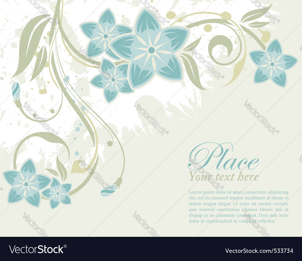 Grunge decorative floral frame with bud element fo