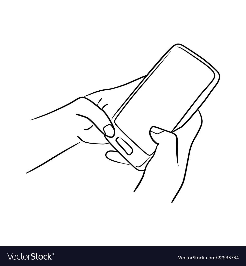Handworking on mobile phone sketch