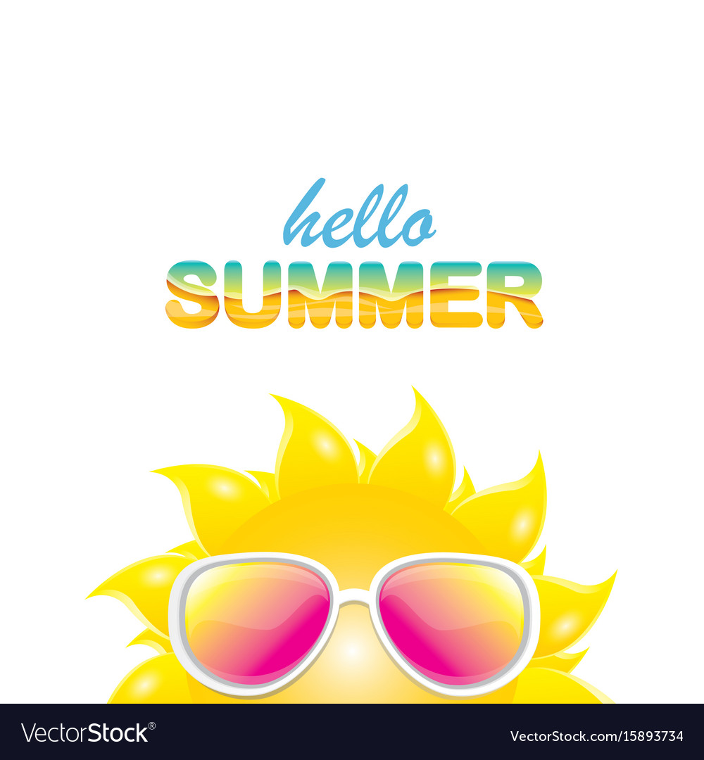 Hello summer label with smiling shiny sun