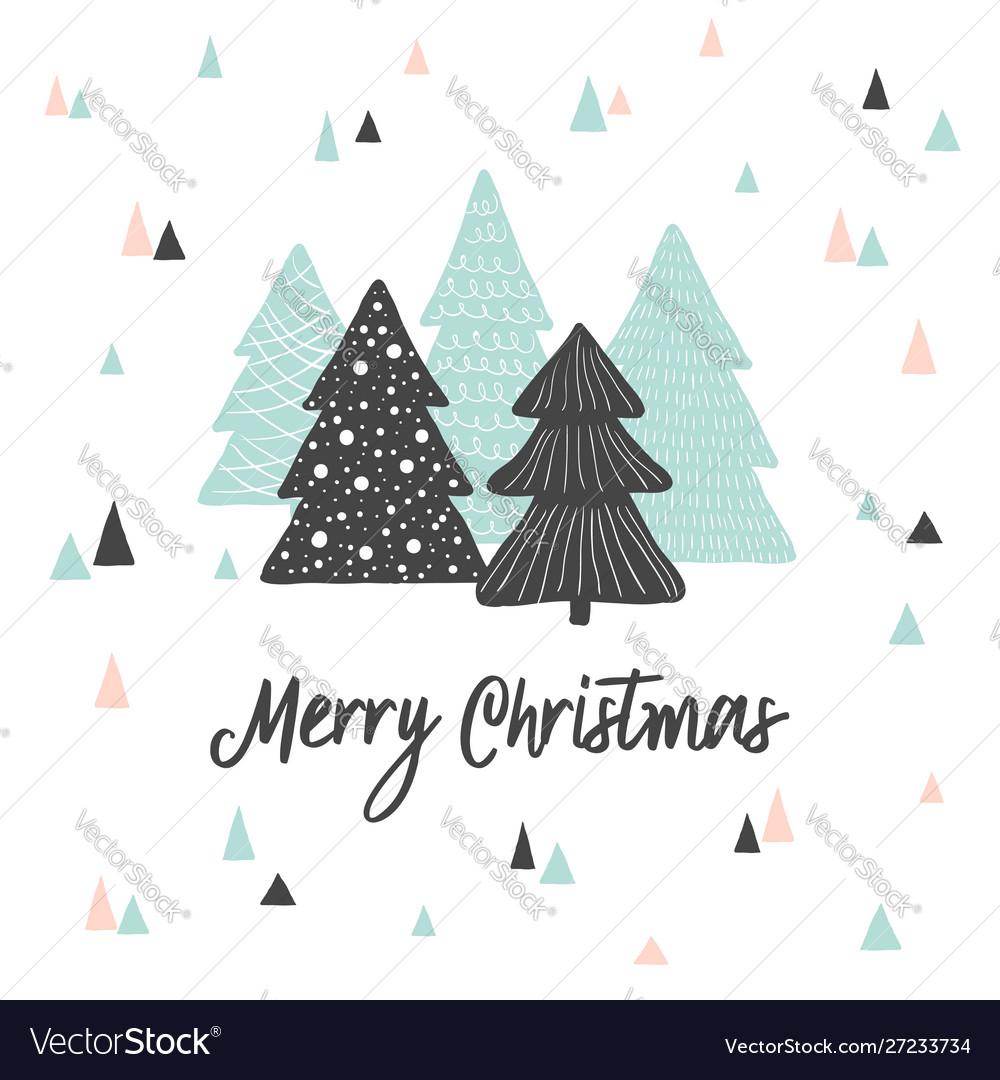 Merry christmas cute greeting card scandinavian