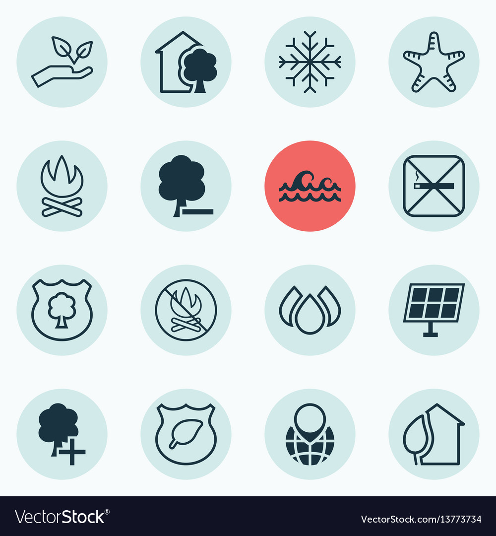Set of 16 ecology icons includes pin earth snow