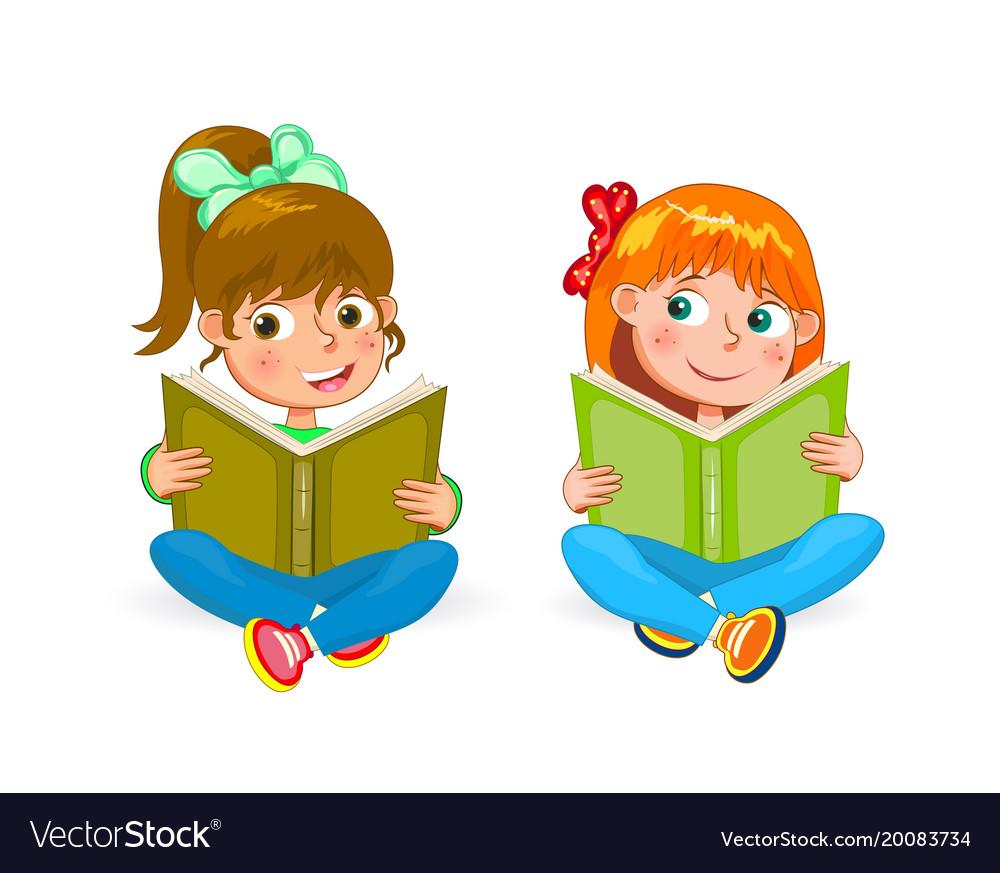 Happy book. Two little girls read