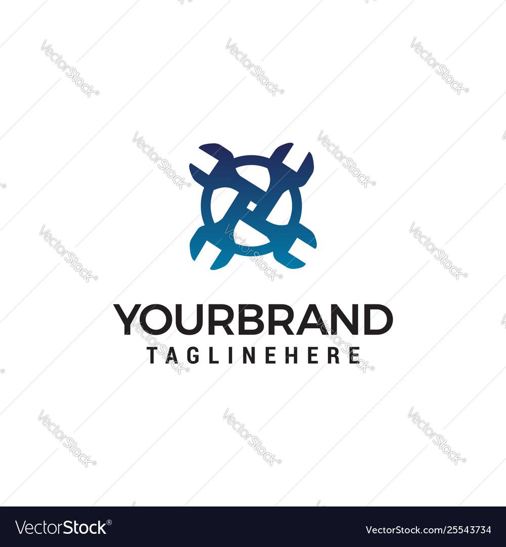 Wrench logo design concept template