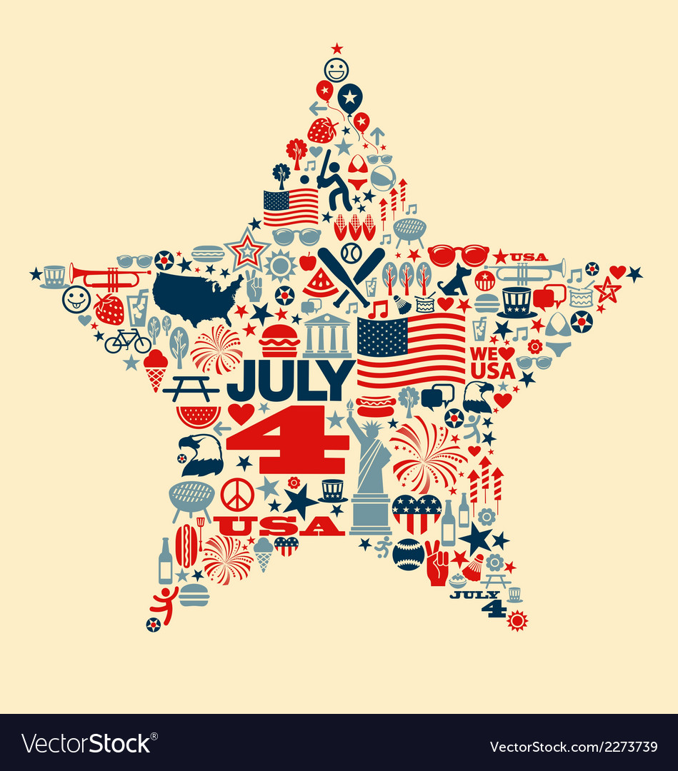 4th of July icons symbols collage T-shirt design