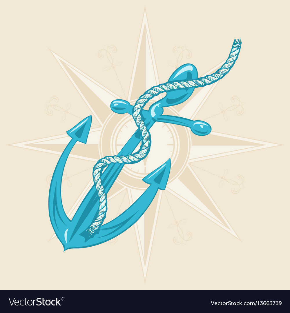Anchor and ribbon on beige background