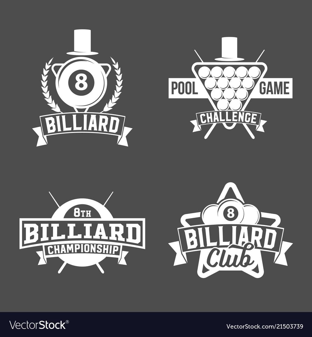 Billiards emblems labels and designed elements