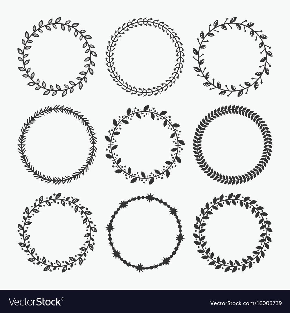 Black silhouette circle leaves emblems set