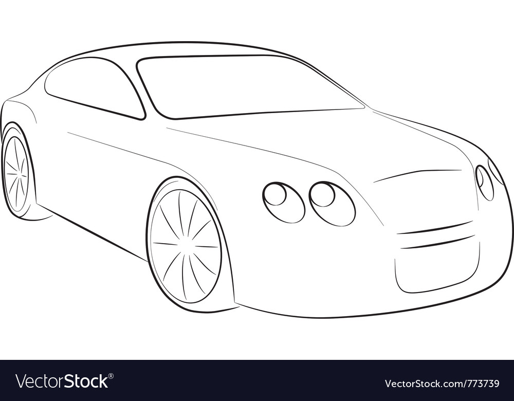 Cartoon Silhouette Of A Car Royalty Free Vector Image