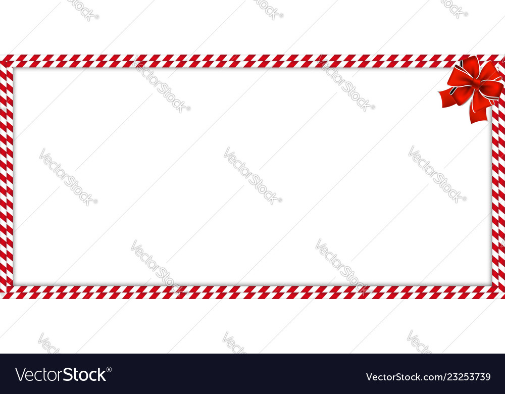 Christmas New Year Rectangle Candy Cane Border Vector Image