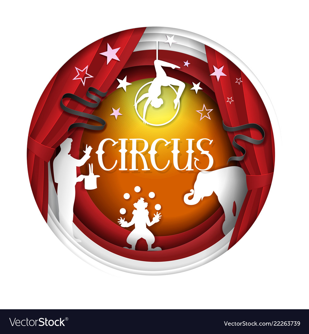 Circus paper cut poster banner design