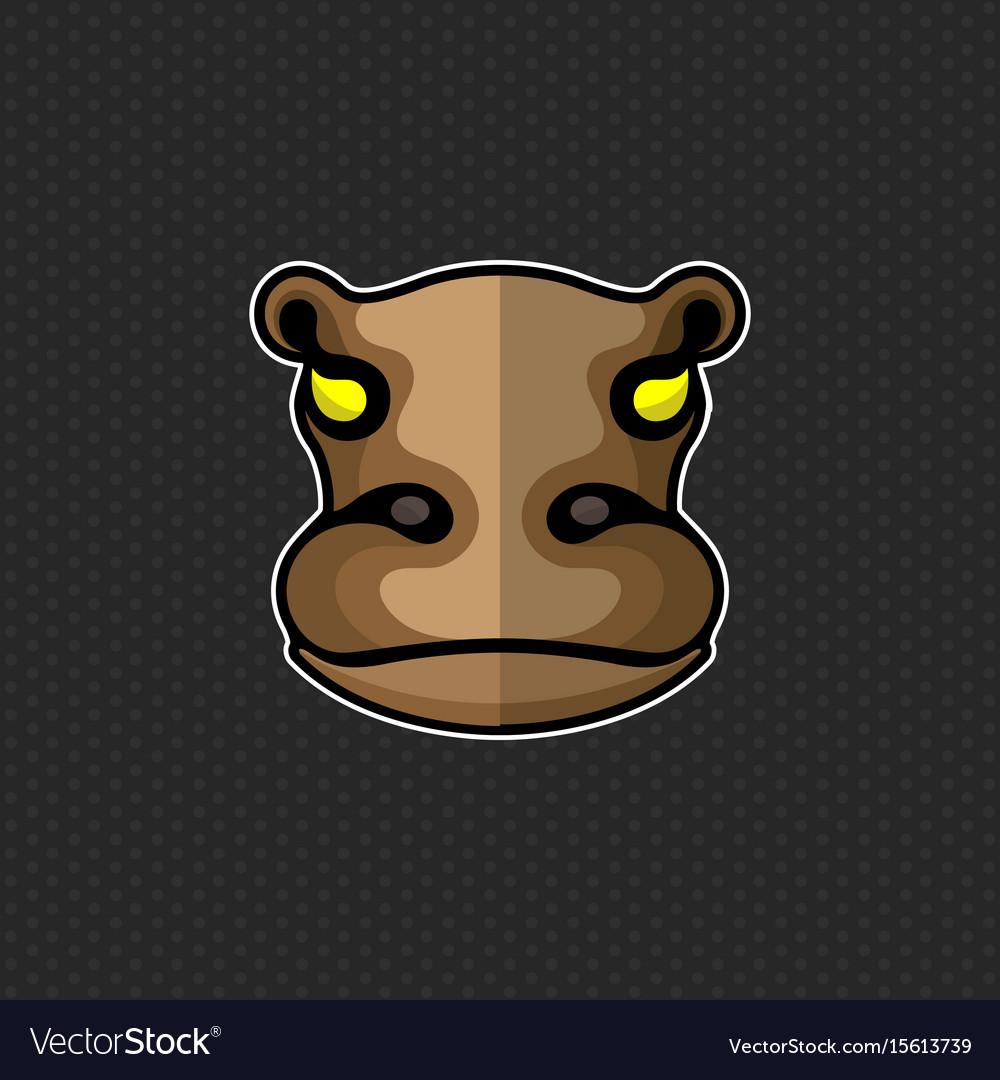 Hippo logo design template hippo head icon vector image