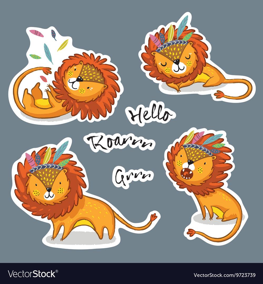 Sticker set cartoon lion action