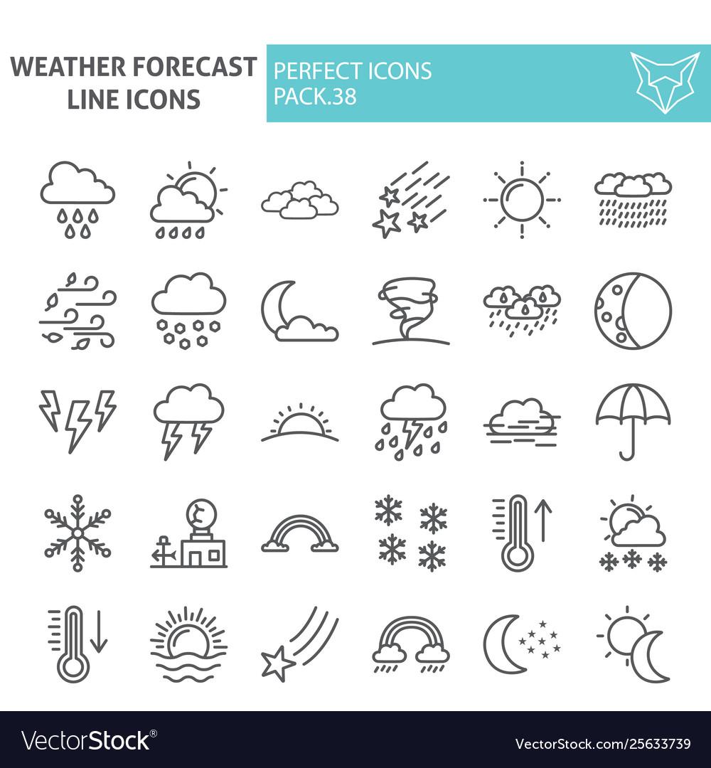 Weather forecast line icon set climate symbols