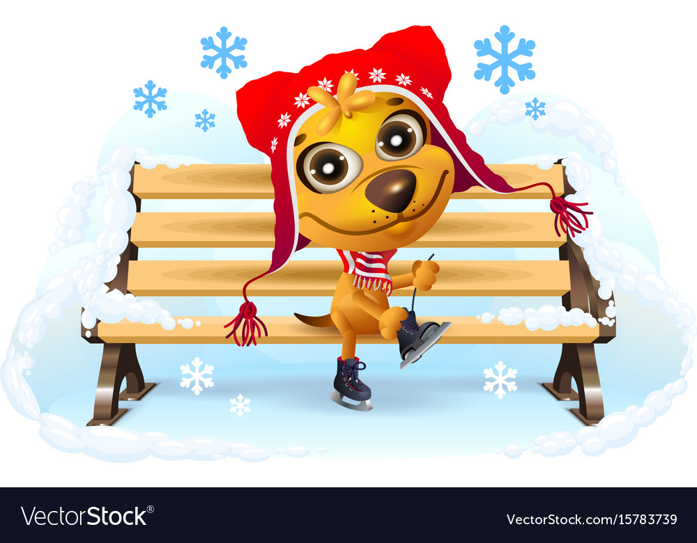 Yellow dog puts on skates winter vacation