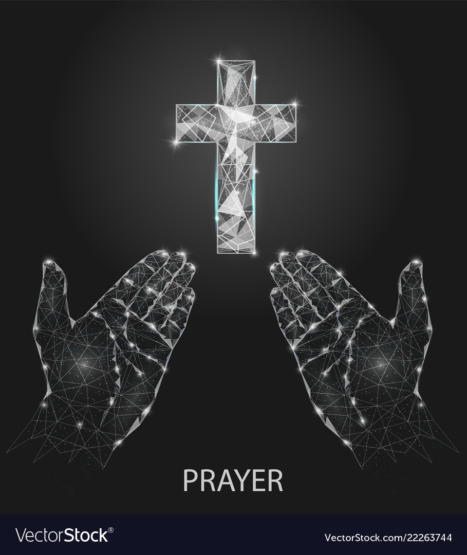 Christian prayer hands geometric polygonal