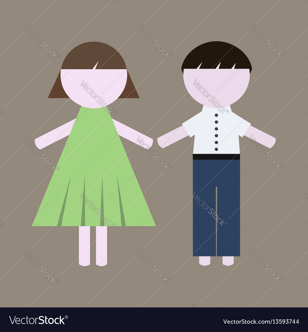 Colorful girl and boy icons vector image