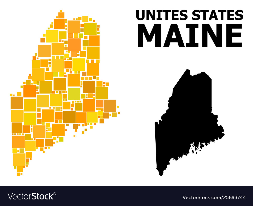 Gold square mosaic map maine state