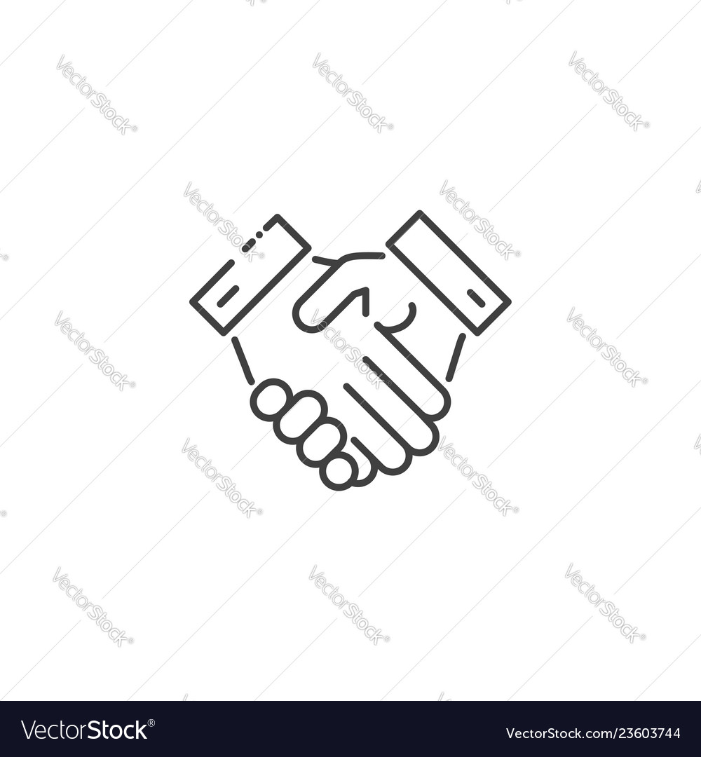 Handshake related line icon