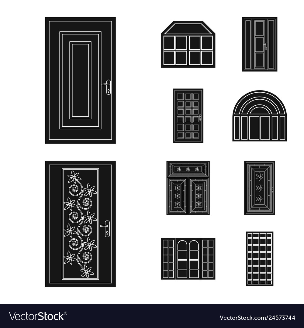 Isolated object of door and front icon collection