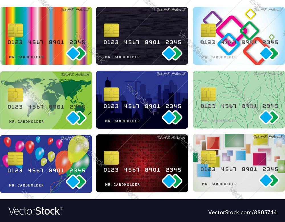 Nine variants of credit cards