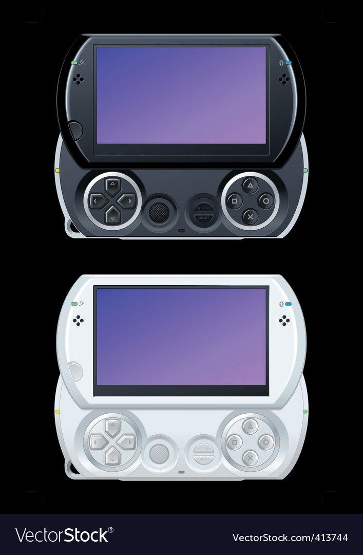 black and white game icon. portable video game console in black and white. Keywords: