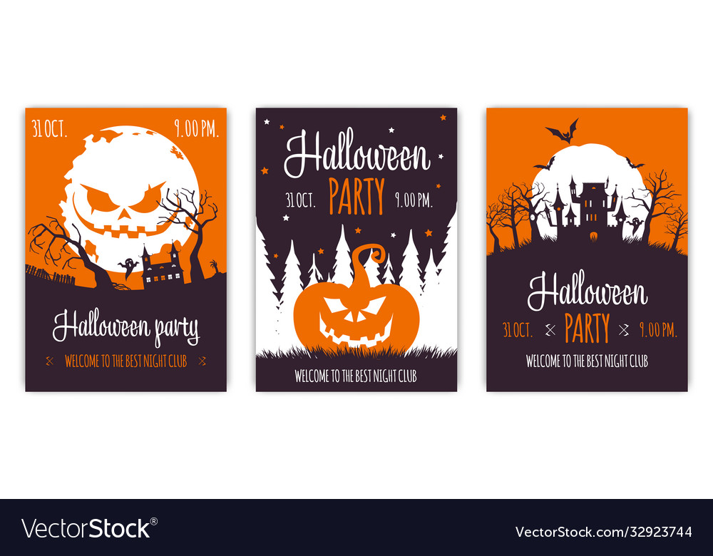 Set abstract halloween party backgrounds 01