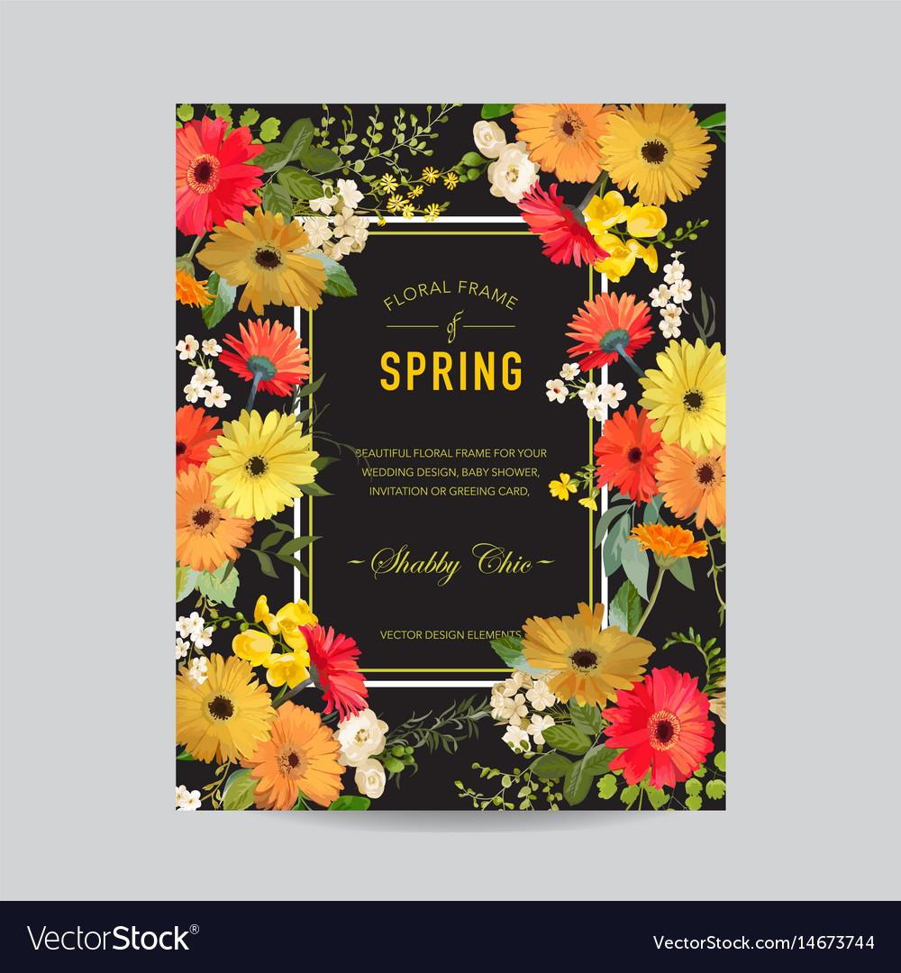 Vintage summer and spring floral frame invitation