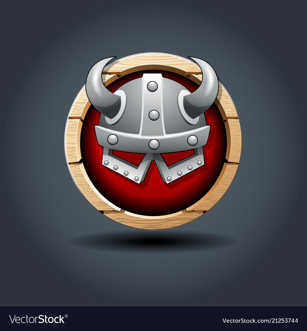 Warriors helm wooden rounded badge icon for ui