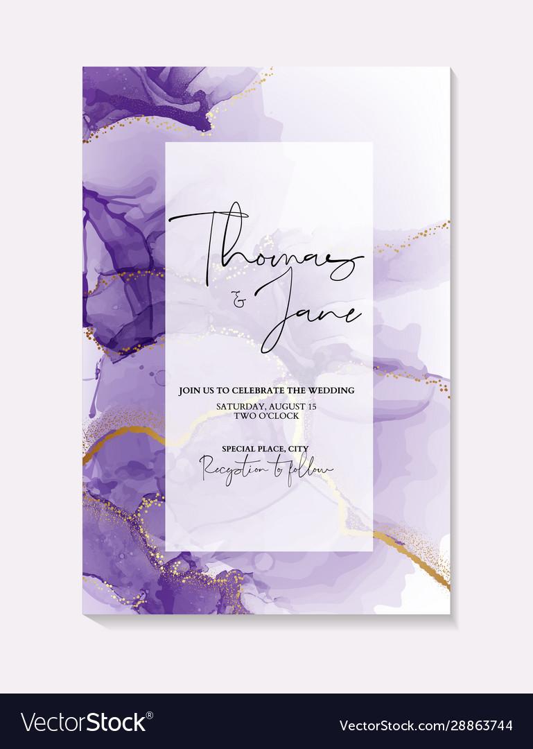 Watercolor purple ink splash with gold foil